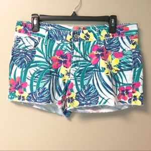 Old Navy Diva Cut-Off Jean Shorts Tropical Floral
